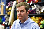 In this Saturday, Sept. 21, 2019, photo, Democratic candidate for governor, Kentucky Attorney General Andy Beshear responds to a reporter's question in Morehead, Ky. (AP Photo/Timothy D. Easley)