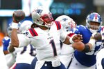 New England Patriots quarterback Cam Newton (1) throws a pass during the first half of an NFL preseason football game against the New York Giants Sunday, Aug. 29, 2021, in East Rutherford, N.J. (AP Photo/Noah K. Murray)