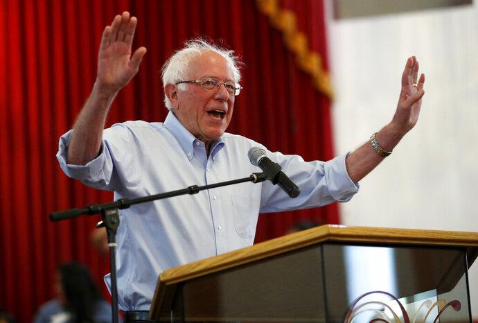 Democratic presidential candidate Sen. Bernie Sanders, I-Vt., speaks arrives for a town hall meeting at the Victory Missionary Baptist Church in Las Vegas on Saturday, July 6, 2019. (Steve Marcus/Las Vegas Sun via AP)