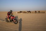 Ricky Brabec of United States rides his Honda motorbike during stage ten of the Dakar Rally between Haradth and Shubaytah, Saudi Arabia, Wednesday, Jan. 15, 2020. (AP Photo/Bernat Armangue)