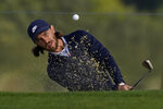 Tom Fleetwood of England, hits from the bunker on the 10th hole during the second round of the PGA Championship golf tournament at TPC Harding Park Friday, Aug. 7, 2020, in San Francisco. (AP Photo/Jeff Chiu)