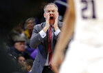 Rutgers head coach Steve Pikiell calls his team during the second half of an NCAA college basketball game against Northwestern, Wednesday, Feb. 13, 2019, in Evanston, Ill. Rutgers won 59-56. (AP Photo/Nam Y. Huh)