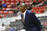 Washington State head coach Ernie Kent shouts to his team during the first half of an NCAA college basketball game against Stanford in Pullman, Wash., Saturday, Jan. 19, 2019. (AP Photo/Young Kwak)