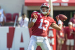Alabama quarterback Tua Tagovailoa (13) throws long during the first half of an NCAA college football game against New Mexico State, Saturday, Sept. 7, 2019, in Tuscaloosa, Ala. (AP Photo/Vasha Hunt)