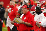 Kansas City Chiefs head coach Andy Reid watches from the bench during the first half of an NFL football game against the New England Patriots, Monday, Oct. 5, 2020, in Kansas City. (AP Photo/Charlie Riedel)