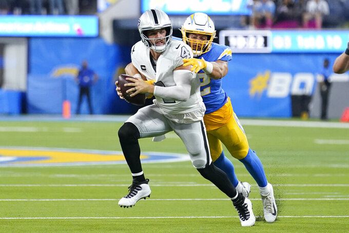 Las Vegas Raiders quarterback Derek Carr is brought down by Los Angeles Chargers linebacker Kyler Fackrell for a sack during the second half of an NFL football game Monday, Oct. 4, 2021, in Inglewood, Calif. (AP Photo/Marcio Jose Sanchez)