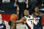 Georgia's Christian Brown (3) shoots against Samford during an NCAA college basketball game in Athens, Ga., Saturday, Dec. 12, 2020. (Joshua L. Jones/Athens Banner-Herald via AP)