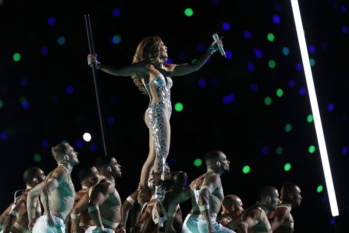 Jennifer Lopez performs during halftime of the NFL Super Bowl 54 football game between the San Francisco 49ers and the Kansas City Chiefs Sunday, Feb. 2, 2020, in Miami Gardens, Fla. (AP Photo/John Bazemore)