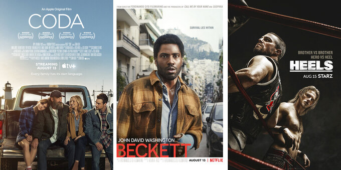 """This combination of photos shows promotional art for the film """"Coda,"""" streaming August 13 on AppleTV+, left, """"Beckett,"""" a Netflix film streaming August 13, center, and """"Heels,"""" a series premiering August 15 on Starz. (AppleTV Plus/Netflix/Starz via AP)"""