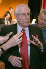FILE - Former Democratic Sen. Mike Gravel speaks to the media after failing to win the nomination for the Libertarian Presidential nomination in Denver, in this May 25, 2008, file photo. Gravel, a former U.S. senator from Alaska who read the Pentagon Papers into the Congressional Record and confronted Barack Obama about nuclear weapons during a later presidential run, has died. He was 91. Gravel, who represented Alaska as a Democrat in the Senate from 1969 to 1981, died Saturday, June 26, 2021. Gravel had been living in Seaside, California, and was in failing health, said Theodore W. Johnson, a former aide. (AP Photo/Will Powers, File)
