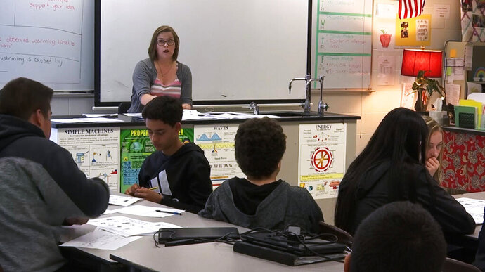 In this April 25, 2019, photo, science teacher Sarah Ott speaks to her class about climate literacy in Dalton, Ga. Teachers across the country describe struggles finding trustworthy materials to help them teach their students about climate change. (AP Photo/Sarah Blake Morgan)