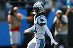 Carolina Panthers wide receiver Robby Anderson celebrates after scoring against the New York Jets during the first half of an NFL football game Sunday, Sept. 12, 2021, in Charlotte, N.C. (AP Photo/Nell Redmond)