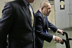 Harvey Weinstein arrives at a Manhattan courthouse for his rape trial in New York, Thursday, Feb. 6, 2020. (AP Photo/Seth Wenig)