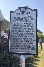 In this Sept. 29, 2019, photo, a sign outside the Shoeless Joe Jackson Museum is shown in Greenville, S.C. (AP Photo/Paul Newberry)