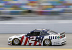 Brad Keselowski drives thought the front stretch during a NASCAR auto race practice at Daytona International Speedway, Thursday, July 4, 2019, in Daytona Beach, Fla. (AP Photo/John Raoux)
