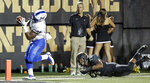 Vanderbilt linebacker Josh Smith (25) knocks Middle Tennessee running back Tavares Thomas, left, out of bounds at the 2-yard line in the first half of an NCAA college football game Saturday, Sept. 1, 2018, in Nashville, Tenn. (AP Photo/Mark Humphrey)