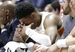 Tennessee's Admiral Schofield sits on the bench during the second half of the NCAA college basketball Southeastern Conference championship game against Auburn Sunday, March 17, 2019, in Nashville, Tenn. Auburn won 84-64. (AP Photo/Mark Humphrey)
