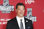 FILE - In this June 24, 2015, file photo, Bill Guerin poses on the red carpet before the NHL Awards show in Las Vegas. The Minnesota Wild have hired Guerin, who won two Stanley Cups as a player and two more titles in the front office with the Pittsburgh Penguins, as their new general manager. Guerin was announced Wednesday, Aug. 21, 2019, as the fourth GM in the team's 19-year history, three weeks after predecessor Paul Fenton was fired by owner Craig Leipold.(AP Photo/John Locher, File)