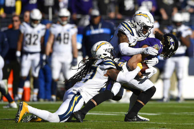 Los Angeles Chargers strong safety Jahleel Addae, left, and free safety Derwin James tackle Baltimore Ravens wide receiver Willie Snead in the first half of an NFL wild card playoff football game, Sunday, Jan. 6, 2019, in Baltimore. (AP Photo/Nick Wass)