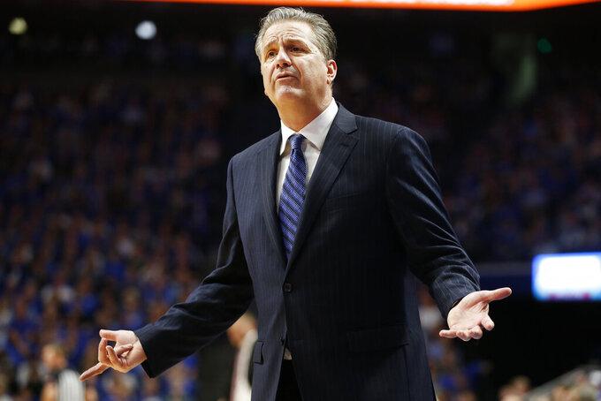 Kentucky head coach John Calipari makes a point during the second half of an NCAA college basketball game against Alabama in Lexington, Ky., Saturday, Jan 11, 2020. Kentucky on 76-67. (AP Photo/James Crisp)