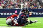 Houston Texans quarterback Davis Mills (10) is sacked by New England Patriots linebacker Matt Judon during the first half of an NFL football game Sunday, Oct. 10, 2021, in Houston. (AP Photo/Justin Rex)