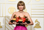"FILE - Taylor Swift poses in the press room with the awards for album of the year and pop vocal album for ""1989"" and best music video for ""Bad Blood"" at the 58th annual Grammy Awards in Los Angeles on Feb. 15, 2016. (Photo by Chris Pizzello/Invision/AP, File)"