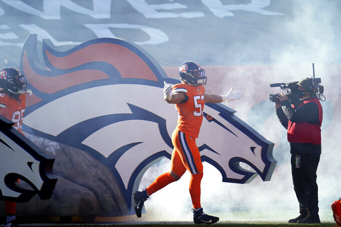 Denver Broncos linebacker Austin Calitro takes the field before an NFL football game against the Buffalo Bills, Saturday, Dec. 19, 2020, in Denver. (AP Photo/David Zalubowski)