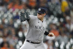 New York Yankees pitcher Jordan Montgomery throws against the Baltimore Orioles in the first inning of a baseball game Thursday, Sept. 16, 2021, in Baltimore. (AP Photo/Gail Burton)