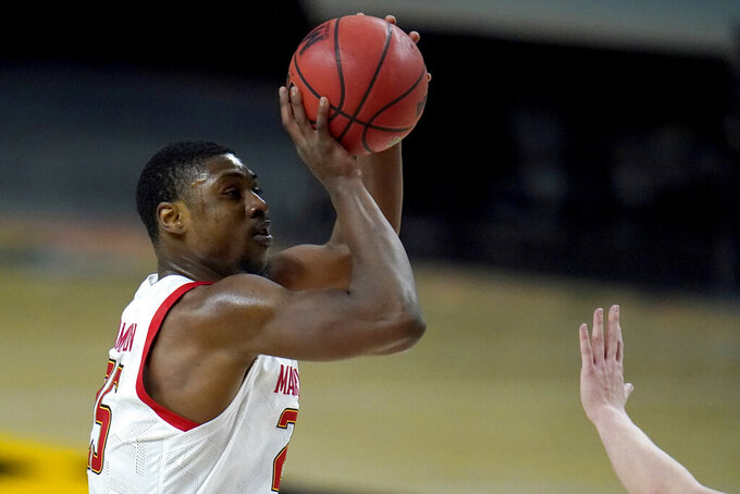 Maryland forward Jairus Hamilton shoots against Nebraska during the second half of an NCAA college basketball game, Tuesday, Feb. 16, 2021, in College Park, Md. Maryland won 64-50. (AP Photo/Julio Cortez)