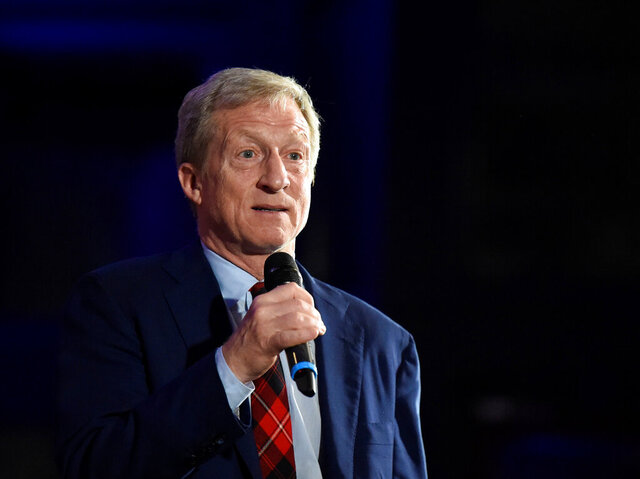 Democratic presidential candidate Tom Steyer announces the end of his presidential campaign following the results of the South Carolina primary on Saturday, Feb. 29, 2020, in Columbia, S.C. (AP Photo/Meg Kinnard)