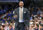 Memphis' head coach Penny Hardaway calls to his players in the first half of an NCAA college basketball game against Bradley Tuesday, Dec. 3, 2019, in Memphis, Tenn. (AP Photo/Karen Pulfer Focht)