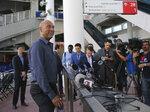 Miami Marlins baseball team CEO Derek Jeter talks with the media during a press conference at Marlins Park in Miami, Tuesday, Feb. 13, 2018. (David Santiago/Miami Herald via AP)