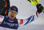 France's Alexis Pinturault reacts in the finish area after the slalom portion of the men's combined competition, at the alpine ski World Championships in Are, Sweden, Monday, Feb. 11, 2019. (AP Photo/Alessandro Trovati)