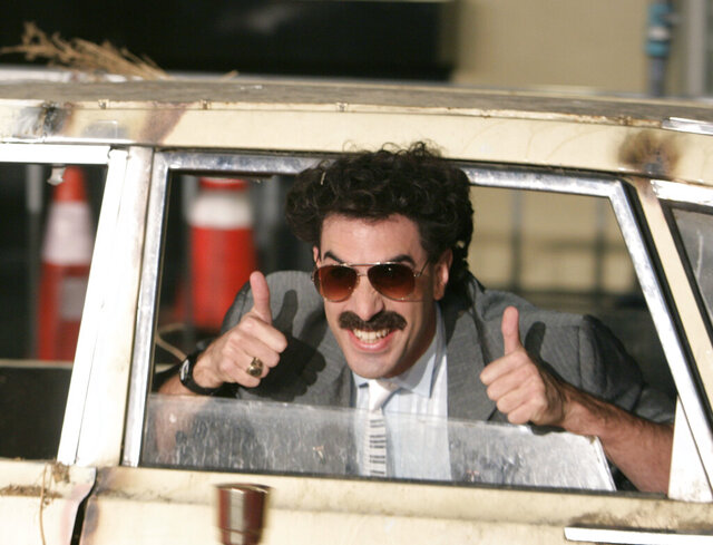 FILE - In this Monday, Oct. 23, 2006, file photo, actor Sacha Baron Cohen arrives in character as Borat for the film premiere of