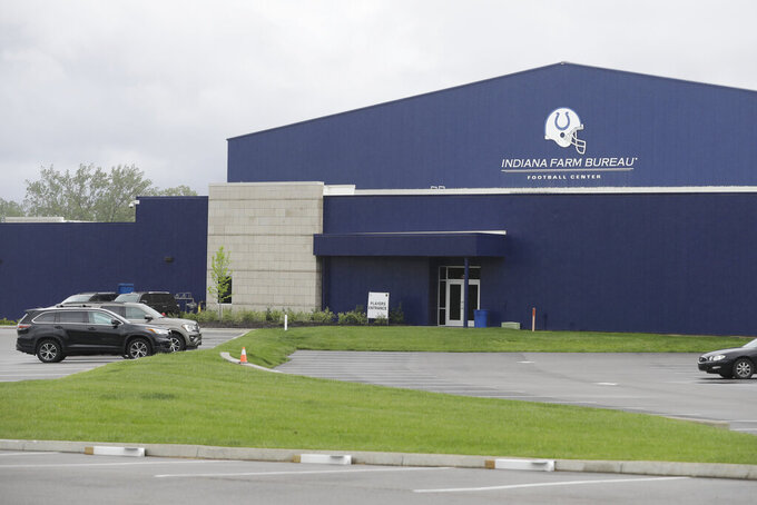 A parking lot is nearly empty in front of the Indianapolis Colts training facility, Tuesday, May 19, 2020, in Indianapolis. Coaching staffs and all players except those undergoing injury rehabilitation are barred from the facilities in the first phase of the league's plan. (AP Photo/Darron Cummings)