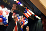 Eddie Moran greets the crowd after winning the race for Reading mayor during a party, Tuesday, Nov. 5, 2019, at the Abraham Lincoln, in Reading, Pa. (Lauren A. Little/Reading Eagle via AP)