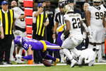 Minnesota Vikings wide receiver Adam Thielen (19) fumble on a pass reception which was recovered by the New Orleans Saints in the first half of an NFL wild-card playoff football game, Sunday, Jan. 5, 2020, in New Orleans. (AP Photo/Brett Duke)