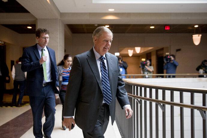 Sen. Lindsey Graham, R-S.C., walks on Capitol Hill in Washington, Wednesday, Oct. 16, 2019. (AP Photo/Andrew Harnik)