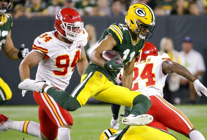 Green Bay Packers' Trevor Davis runs during the first half of a preseason NFL football game against the Kansas City Chiefs Thursday, Aug. 29, 2019, in Green Bay, Wis. (AP Photo/Mike Roemer)