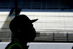 Charlie Kimball watches during qualifications for the Indianapolis 500 auto race at Indianapolis Motor Speedway, Saturday, Aug. 15, 2020, in Indianapolis. (AP Photo/Darron Cummings)