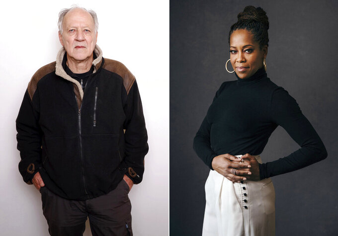 """This combination photo shows actor-director Werner Herzog, left, and actress-director Regina King. The Toronto International Film Festival on Thursday unveiled a lineup featuring the directorial debut of Regina King and the latest documentary from Herzog. King directs a drama about a young Muhammad Ali, then Cassius Clay, titled """"One Night in Miami,"""" and Herzog and Clive Oppenheimer have a meteorite documentary called """"Fireball: Visitors from Darker Worlds.""""  The festival, which is set to run Sept. 10-19, has plotted a largely virtual 45th edition due to the pandemic. (AP Photo)"""