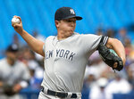 New York Yankees starting pitcher Chad Green throws during the first inning of a baseball game against the Toronto Blue Jays, Saturday, Aug. 10, 2019 in Toronto. (Fred Thornhill/The Canadian Press)