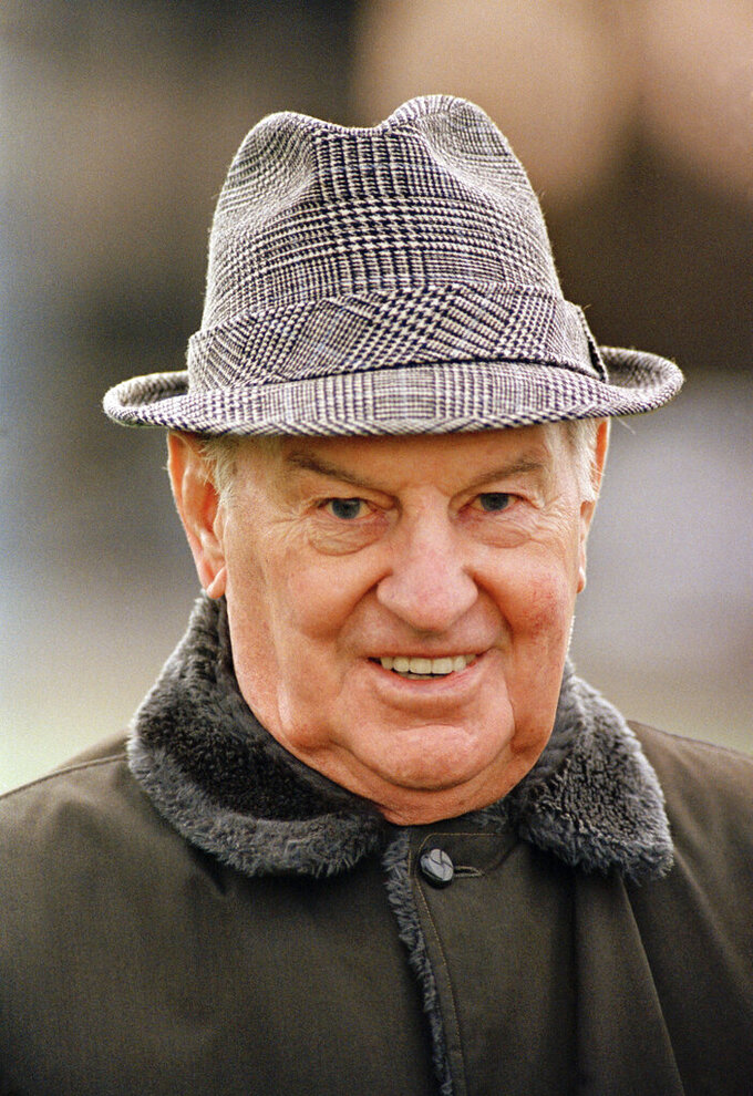 FILE - This is an Aug. 5, 1981, file photo showing Paul Brown, one of pro football's greatest innovators. In Ohio, Brown was synonymous with football. He led Ohio State to its first national title before becoming head coach of the Browns, who won four All-America Football Conference titles and then three in the NFL under Brown.   (AP Photo/Al Behrman, File)
