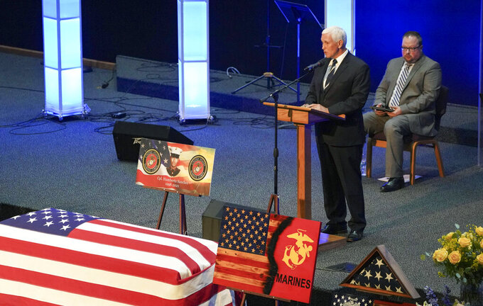 Former Vice President Mike Pence speaks during the funeral service for Marine Cpl. Humberto Sanchez at LifeGate Church in Logansport, Ind., on Tuesday, Sept. 14, 2021. Sanchez was one of 13 U.S. service members killed in last month's suicide bombing at Afghanistan's Kabul airport during the U.S.-led evacuation.  (Jonah Hinebaugh/The Pharos-Tribune via AP)