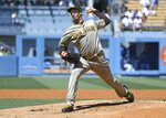 San Diego Padres starting pitcher Blake Snell throws in the first inning against the Los Angeles Dodgers during a baseball game Sunday, Sept. 12, 2021, in Los Angeles, Calif. (AP Photo/John McCoy)