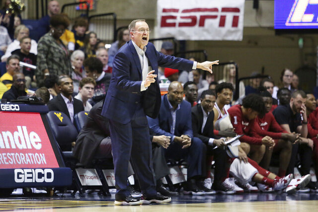 Oklahoma coach Lon Kruger reacts during the second half of an NCAA college basketball game against West Virginia Saturday, Feb. 29, 2020, in Morgantown, W.Va. (AP Photo/Kathleen Batten)