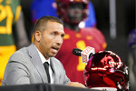 FILE - Iowa State head football coach Matt Campbell speaks from the stage during NCAA college football Big 12 media days in Arlington, Texas, in this Wednesday, July 14, 2021, file photo. The Cyclones are coming off their best season in program history. They reached the Big 12 championship game for the first time, beat Oregon in the Fiesta Bowl and finished 9-3 and No. 9 in the final Associated Press Top 25.(AP Photo/LM Otero)