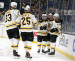 Boston Bruins right wing Chris Wagner (14) is congratulated by teammates after scoring a goal against the Carolina Hurricanes during the second period of an NHL hockey game, Tuesday, March 5, 2019, in Boston. (AP Photo/Mary Schwalm)