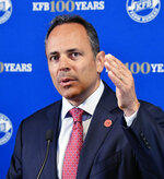 Kentucky Governor and republican candidate for governor Matt Bevin speaks to the media following the Kentucky Farm Bureau candidates forum at the Kentucky Farm Bureau headquarters in Louisville, Ky., Wednesday, July 17, 2019. (AP Photo/Timothy D. Easley)
