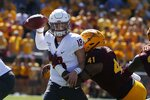 Washington State quarterback Anthony Gordon (18) tries to pass as Arizona State defensive lineman Tyler Johnson (41) wraps him up during the first half of an NCAA college football game Saturday, Oct. 12, 2019, in Tempe, Ariz. (AP Photo/Ross D. Franklin)
